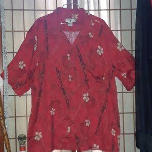 Caribbean Joe Silk Button Down Hawaiian Shirt